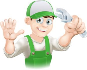 Cartoon Plumber with Wrench